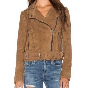 muubbaa brown suede leather jacket